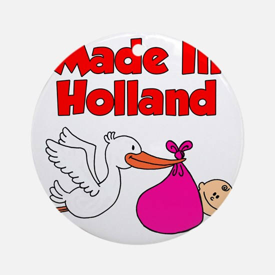 Made In Holland Girl Round Ornament