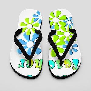 retired teacher retro flowers 2 Flip Flops