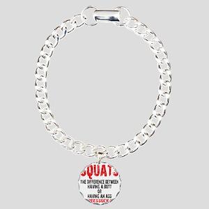 SQUATS - WHITE Charm Bracelet, One Charm