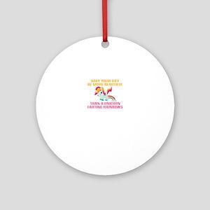 Unicorn Farting Rainbows Round Ornament