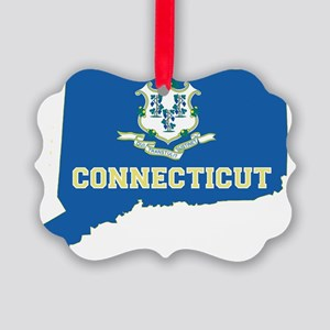 Connecticut State Flag Map Picture Ornament