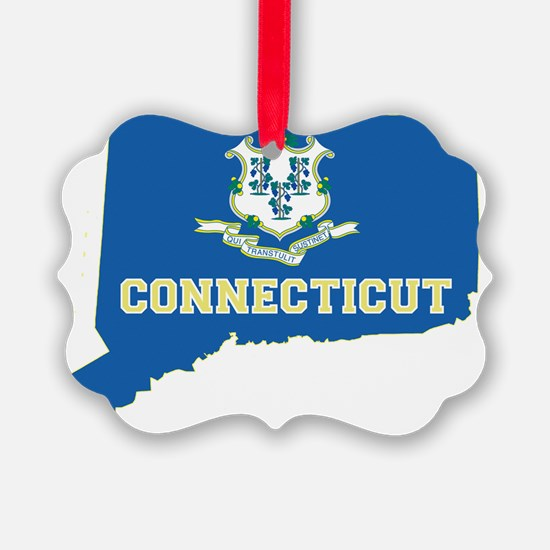 Connecticut State Flag Map Ornament