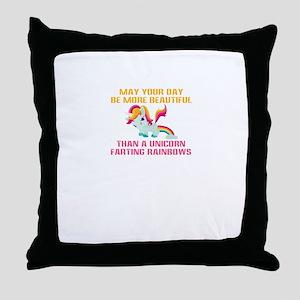 Unicorn Farting Rainbows Throw Pillow