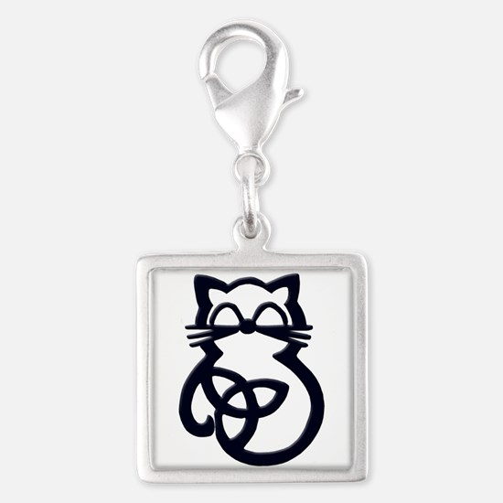 Black Trinity Knot Celtic Cat Charms