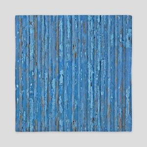 Rustic Blue Peeling Painted Wood Queen Duvet