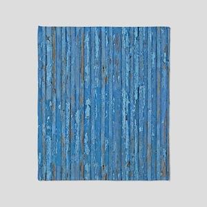 Rustic Blue Peeling Painted Wood Throw Blanket