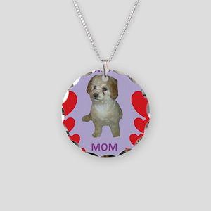 BICHAPOO MOM w/HEARTS Necklace Circle Charm