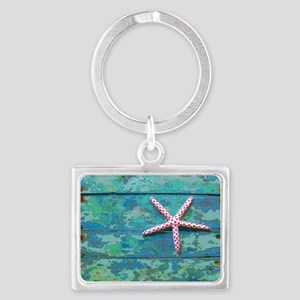 Starfish and Turquoise Landscape Keychain