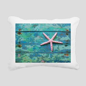 Starfish and Turquoise Rectangular Canvas Pillow