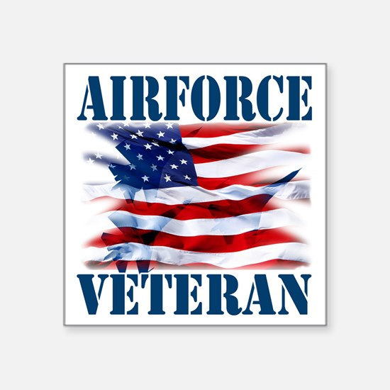 "Airforce Veteran copy Square Sticker 3"" x 3"""