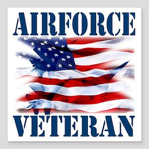 "Airforce Veteran copy Square Car Magnet 3"" x 3"""