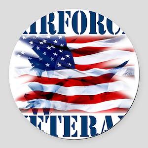Airforce Veteran copy Round Car Magnet
