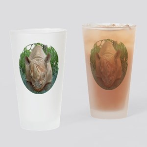 round rhino front/back Drinking Glass
