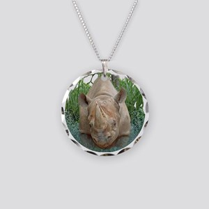 round rhino front/back Necklace Circle Charm