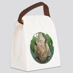 round rhino front/back Canvas Lunch Bag