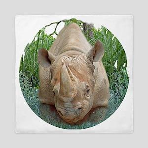 round rhino front/back Queen Duvet