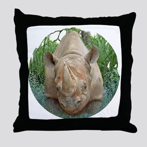 round rhino front/back Throw Pillow