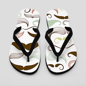 Mustache Pattern Flip Flops