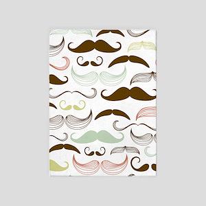 Mustache Pattern 5'x7'Area Rug