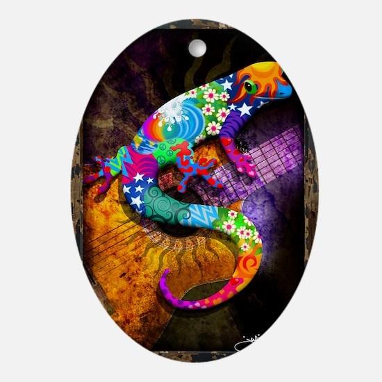 Guitar Gecko Oval Ornament