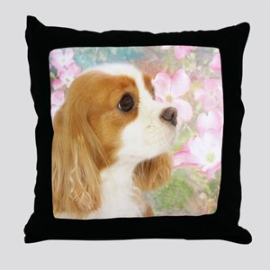 Spring Dogwood Cavalier King Charles  Throw Pillow