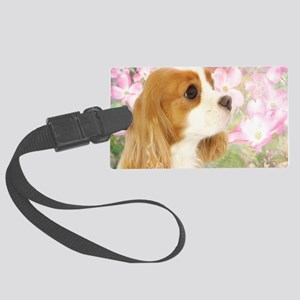 Spring Dogwood Cavalier King Cha Large Luggage Tag