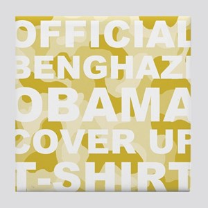 obama benghazi cover up camo l Tile Coaster