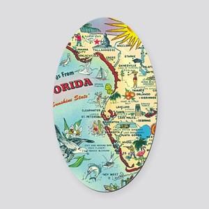 Vintage Greetings from Florida Oval Car Magnet