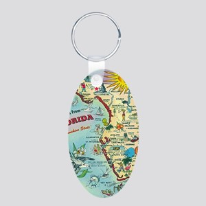 Vintage Greetings from Flor Aluminum Oval Keychain