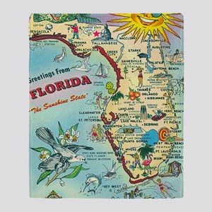 Vintage Greetings from Florida Throw Blanket