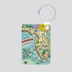 Vintage Greetings from Flo Aluminum Photo Keychain