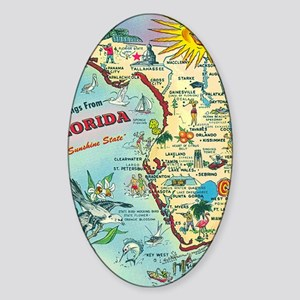 Vintage Greetings from Florida Sticker (Oval)