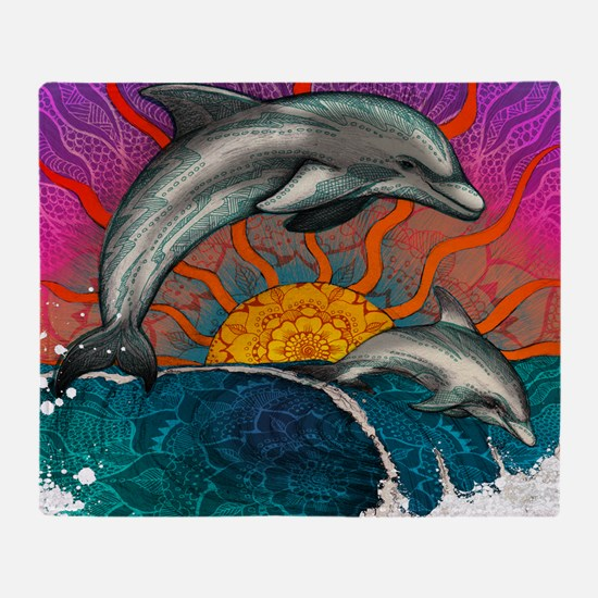 Dolphin Ocean Wave Throw Blanket