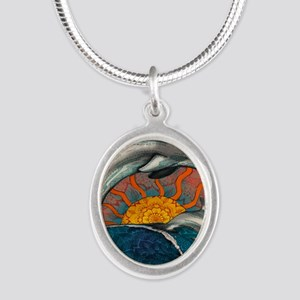 Dolphin Ocean Wave Silver Oval Necklace