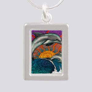 Dolphin Ocean Wave Silver Portrait Necklace