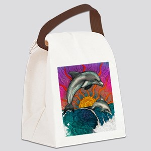 Dolphin Ocean Wave Canvas Lunch Bag