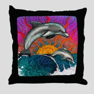 Dolphin Ocean Wave Throw Pillow