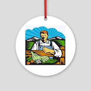 Organic Farmer Farm Produce Harvest Round Ornament