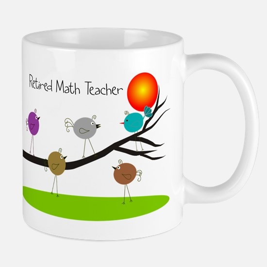 retired Math teacher retro birds Mug