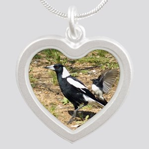 Australian Magpie being mobb Silver Heart Necklace