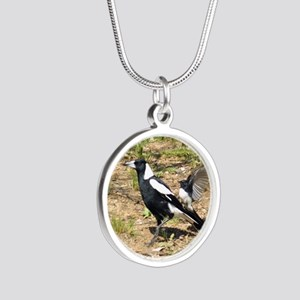 Australian Magpie being mobb Silver Round Necklace