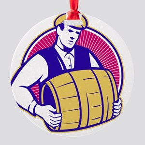 Bartender Carrying Beer Keg Retro Round Ornament