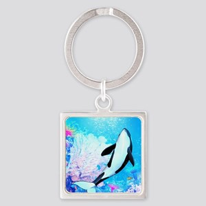 o3_Round Compact Mirror Square Keychain
