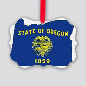 Oregon State Flag and Map Picture Ornament