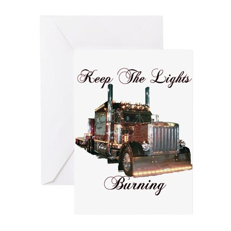 Keep The Lights Burning Greeting Cards (Package of