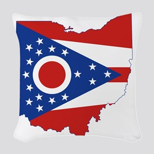 Ohio State Flag and Map Woven Throw Pillow