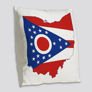 Ohio State Flag and Map Burlap Throw Pillow
