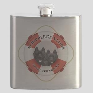 Schipperke Nation life preserver Flask
