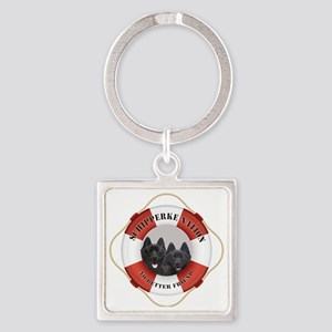 Schipperke Nation life preserver Square Keychain