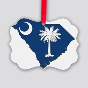 South Carolina State Flag and Map Picture Ornament